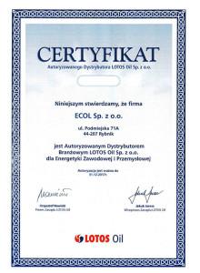 Certyfikat Autoryzowanego Dystrybutora LOTOS Oil dla Ecol Sp. z .o.o.