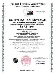 Certyfikat akredytacji ISO/IEC 17025 nr AB 1564