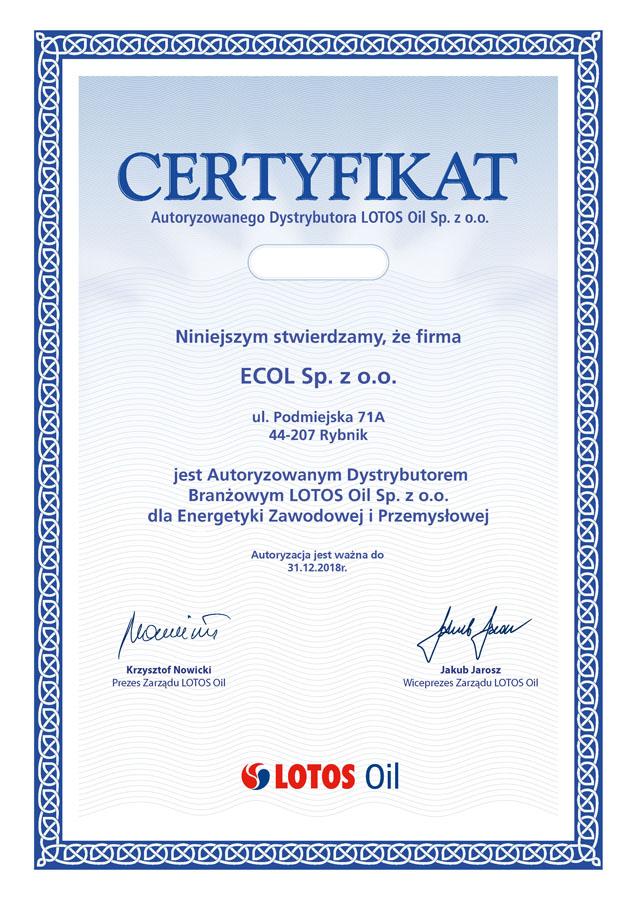 Certyfikat_Autoryzowanego_Dystrybutora_LOTOS_2018_Ecol