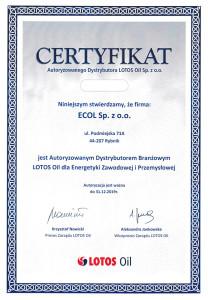 Certyfikat_Autoryzowanego_Dystrybutora_LOTOS_2019_Ecol