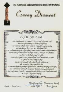 Certyfikat Czarny Diament 2017